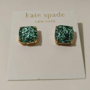 Kate Spade teal square glitter stud earrings